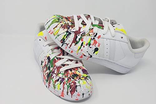 40b9f6da73aba Amazon.com: Custom Splatter Paint Superstar Sneakers: Handmade