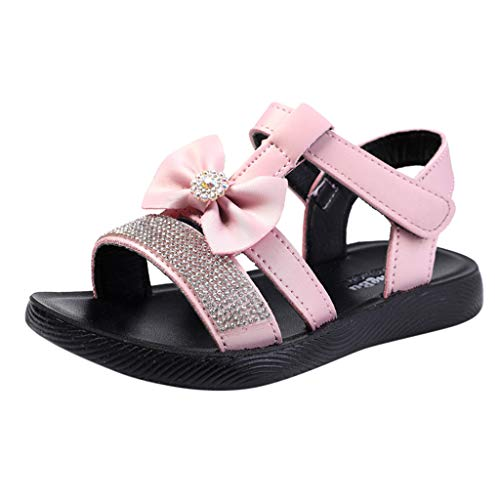 ONLY TOP Infant Baby Girls Sandals Rubber Soft Sole Summer Sweet Princess Dress Bowknot First Walker Shoes Pink ()
