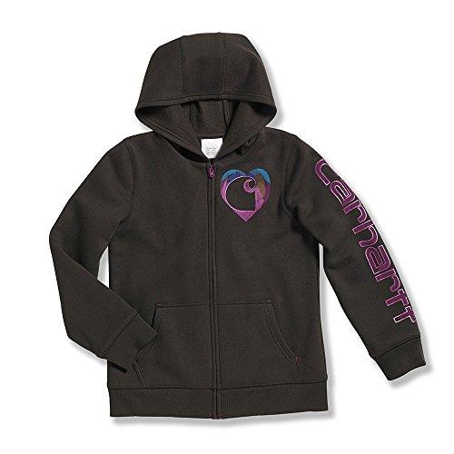 7 Logo Brushed Fleece Zip Front Sweatshirt - Girls - 4 Child - Dark Brown ()