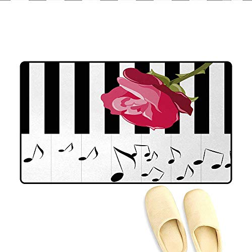 Bath Mat,Hand Drawn Red Rose on Piano with Musical Notes Romantic Instrumental Art,Floor Mat Pattern,Pink Black White,Size:24