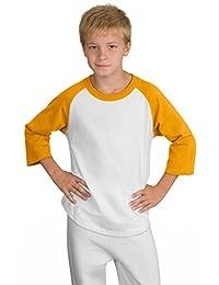 Sport-Tek Boys' Colorblock Raglan Jersey M White/Gold