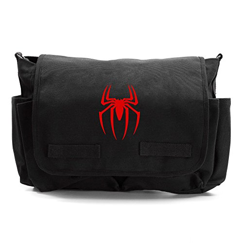Spiderman Symbol Army Heavyweight Canvas Messenger Shoulder Bag in Black & Red