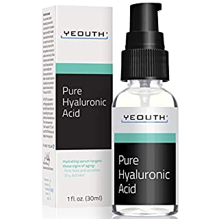 Hyaluronic Acid Serum for Face by YEOUTH - 100% Pure Clinical Strength Anti Aging Formula! Holds 1,000 Times Its Own Weight in Water, Plumps and Hydrates Skin, All Natural Moisturizer (1oz)
