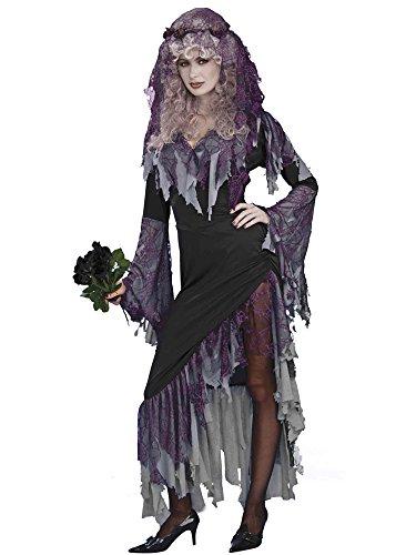 Women's Zombie Bride Costume, Black/Gray, One (Womens Zombie Bride Halloween Costume)