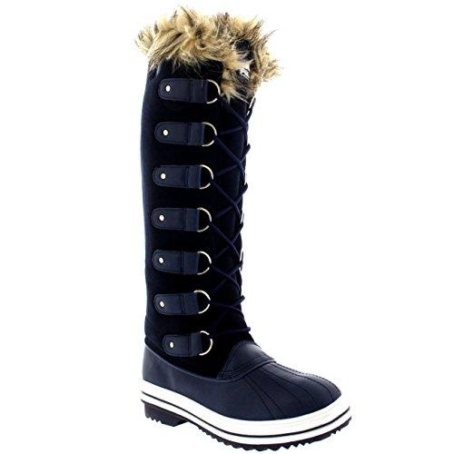 Frauen schnüren sich Gummisohle Kniehohe Winter Schnee Regen Schuh Stiefel Navy Wildleder