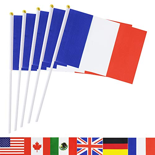 TSMD France Stick Flag, 50 Pack Hand Held Small French National Flags On Stick,International World Country Stick Flags Banners,Party Decorations For World Cup,Sports Clubs,Festival Events Celebration
