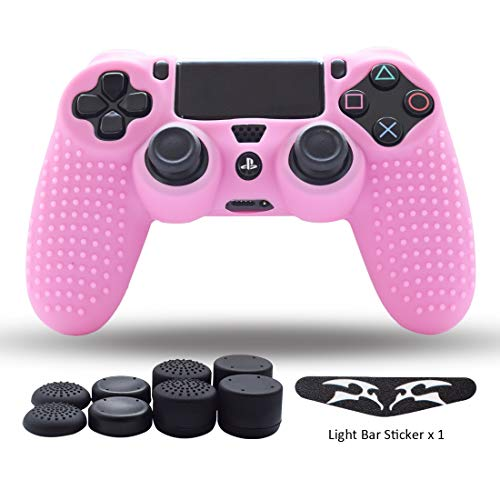 - PS4 Controller Skin,Silicone Grips for Playstation 4 PS4/Slim/Pro Controller Anti Slip Cover Case Protector for Dual Shock 4 Controller - One Light Bar Sticker - 8pcs Pro Thumb Grips-Studs Pink