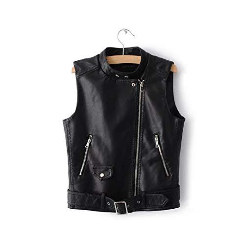 (Spring Autumn Soft Leather Vest Female Short Section St Collar Motorcycle Pu Leather Sleeveless Vest Jacket Black S)