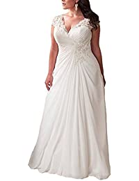 Womens Elegant Applique Lace Wedding Dress V Neck Plus Size Beach Bridal Gowns