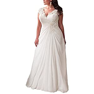 YIPEISHA Women's Elegant Applique Lace Wedding Dress V Neck Plus Size Beach Bridal Gowns