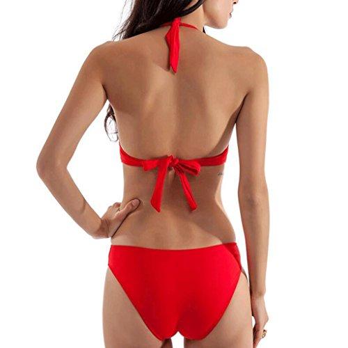Triángulo traje de baño de cuerpo sólido traje de baño de espalda hueco Rojo