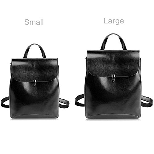Bag Convertible Zicac Black Bag for Shoulder Purses School Girls Backpacks Leather qq1FX