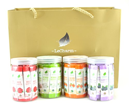 120-count LeCharm Tea to Go Fruit & Flowering Tea Extract Crystals Powder Instant Tea Sampler Gift Set - Iced or Hot Tea in 3 Seconds(4 boxes of 30 packets each)
