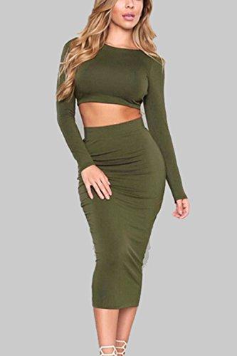 De Con Crop Bodycon 2 Elegante Vendaje Green Traje Piezas Falda Top Mujer La Backless tqX0wvvx