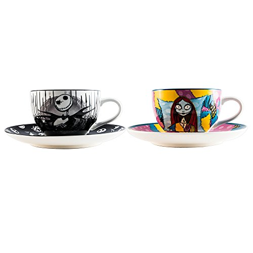 Silver Buffalo NBTC1 Disney Nightmare Before Christmas Jack and Sally Set Ceramic Tea Cup, Multicolor