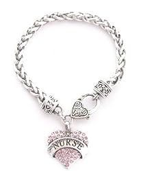 From the Heart Pink Crystal Rhinestone Nurse Heart Pendant on Heavy Silver Metal Bracelet