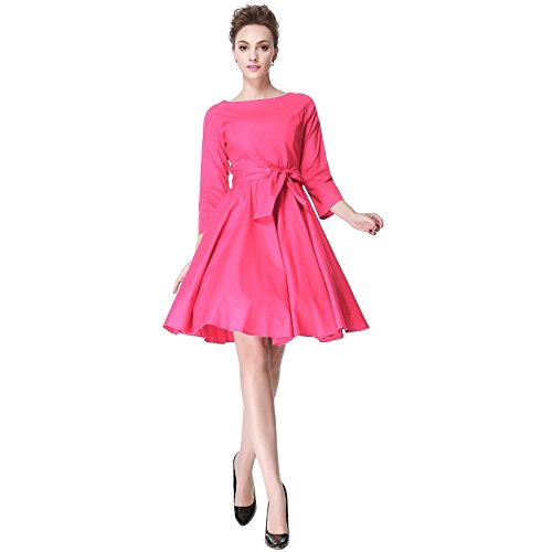 Heroecol 50s 60s Hepburn 3/4 Sleeve Style Vintage Retro Swing Rockailly Dresses Size S Color Pink