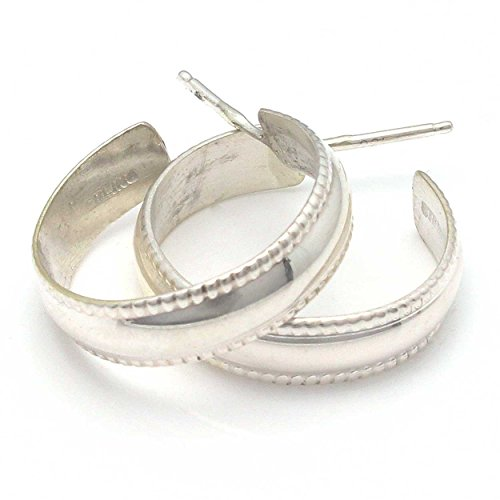 Navajo Sterling Silver Handcrafted Hoop Earrings .75