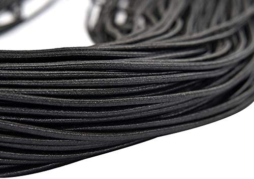3mm幅のブラックエラスティックコード、スムーズフィニッシュストロング&ストレッチ性、縫製衣服、DIYプロジェクト、クラフトメイキング用の100メートル長のエラスティックバンド