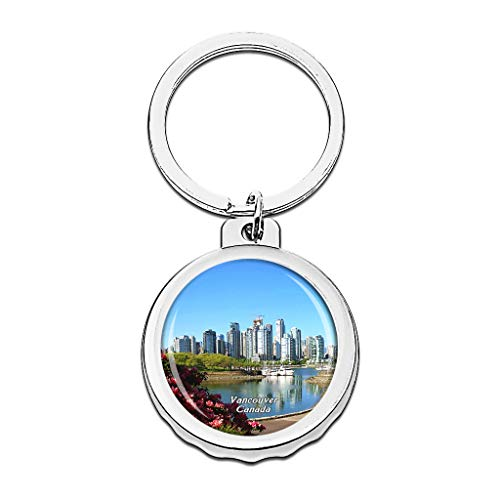 Hqiyaols Keychain Canada Granville Island Vancouver Bottle Opener Creative Crystal Stainless Steel Cap Key Chain Travel Souvenirs Gifts Metal