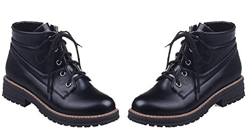 Mini Grueso Pu Negro Tacón Eux133 Puntera Cerrada Shoes Mujer Cordones Boots Ageemi qTCgwUq