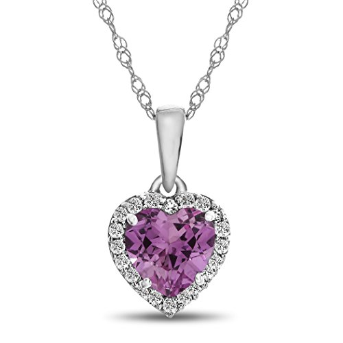 (Finejewelers 10k White Gold 6mm Heart-Shaped Created Pink Sapphire with White Topaz accent stones Halo Pendant Necklace)