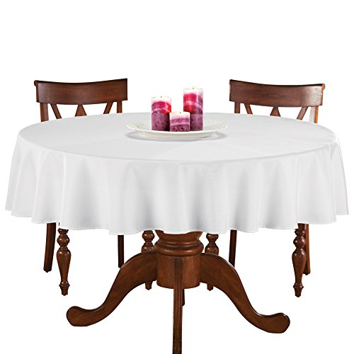 Tablecloth Basic (70 Inch Round Solid Colored Tablecloth, 100% Durable Polyester, White)