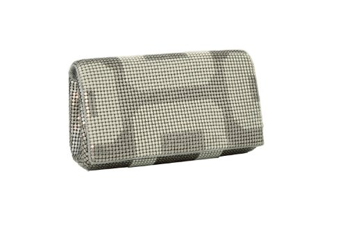 Whiting & Davis GEO Flap Clutch (Pearl) by Whiting & Davis