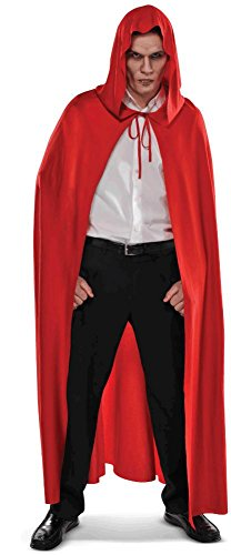 amscan Red Hooded Cape Halloween Costume Accessories for Adults, One Size -