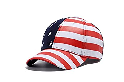 WUKE Baseball Cap, Adult/Unisex USA American Flag Stars and Stripes Embroidery Curved Brim, Outdoor Recreation Adjustable Hip-hop Hat by WUKE