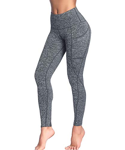 AIMILIA High Waisted Yoga Pants with Pockets Workout Tummy Control Leggings Sport Tights for Women (Large, Gray Heather)
