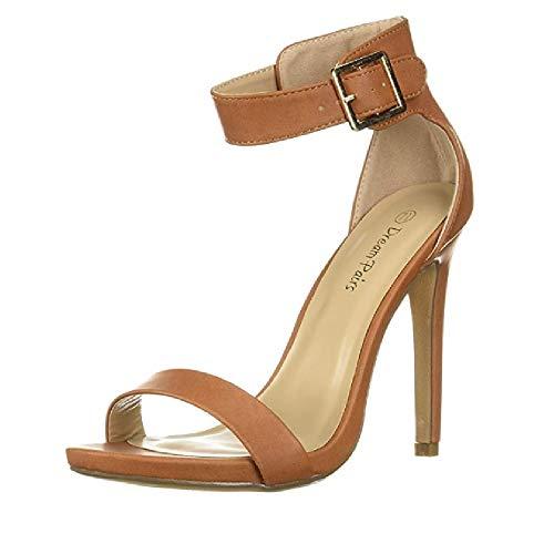 DREAM PAIRS Women's Elegantee TAN Pu Pumps Heel Sandals Size 9.5 US