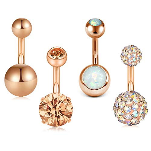 D.Bella 14G 8mm 5/16 Inch 316L Surgical Steel CZ Ball Short Belly Button Rings Earring Navel Belly Rings 4pcs Crystal Gold Button Earrings