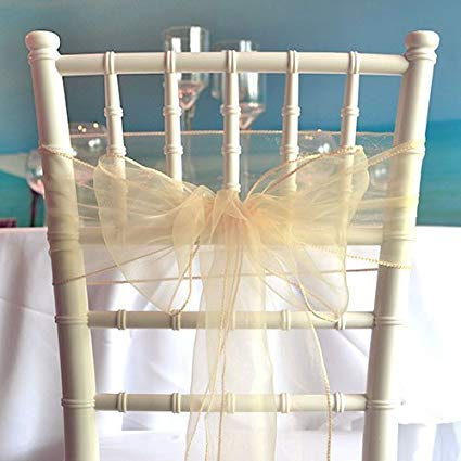Ivory Sheer Organza Wedding Sashes - 8