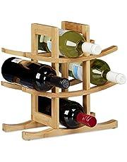 Relaxdays Bamboe wijnrek, houder voor 9 standaard flessen, origineel ontwerp, vrijstaand, afmeting: ca 30 x 30 x 14,5 cm, natuurlijk bruin, 14,5 x 30 x 30 cm
