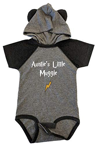BeeGeeTees Auntie's Little Mvggle Funny Wizard Baby Romper Witch Onesie (12 Months, Granite Heather - Vintage Smoke)