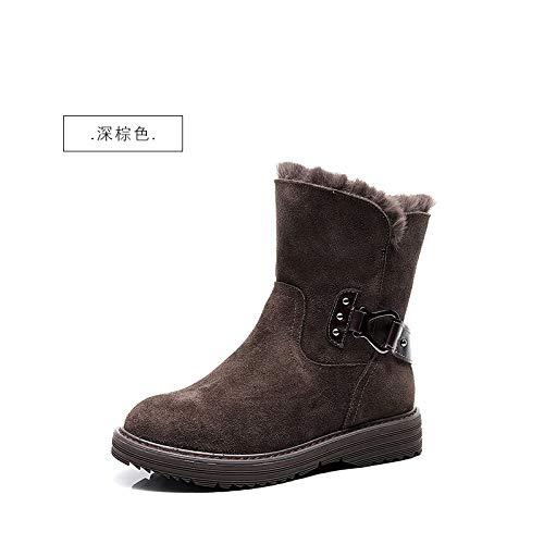 BYUYAN Stiefel Im Herbst Schnee Stiefel Damen Winter Wild Kurze Barrel Plus Baumwolle warme Stiefel