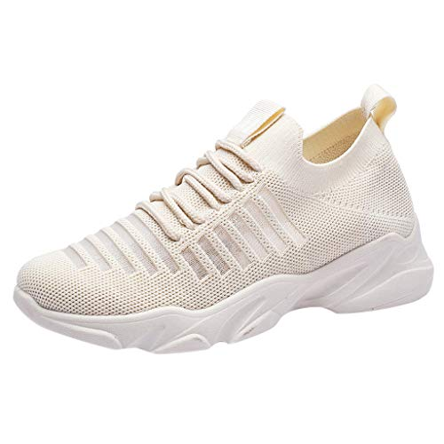 TOOPOOT Sports Shoes for Women, Ladies Mesh Breathable Slip On Sports Running Sneakers Shoes Beige