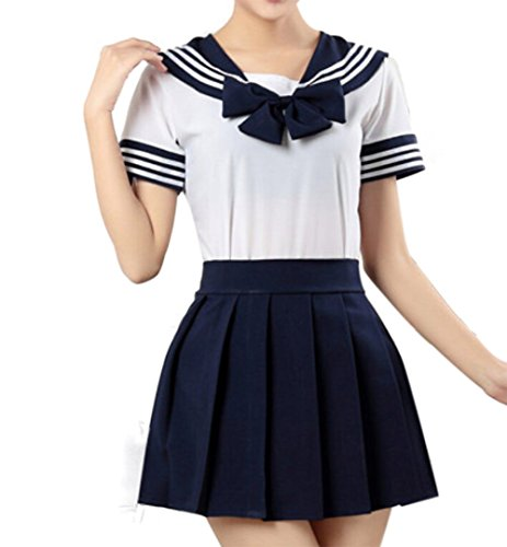 WenHong Japan School Uniform Dress Cosplay Costume Anime Girl Lady Lolita Navy ()