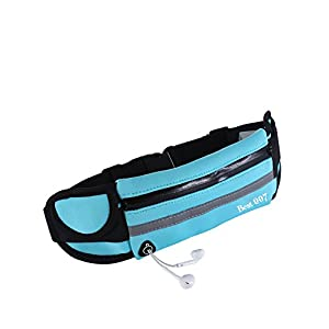 Best 007 Running Belt Waist Pack-Adjustable Water Resistance Belt for Running, Hiking (Blue)