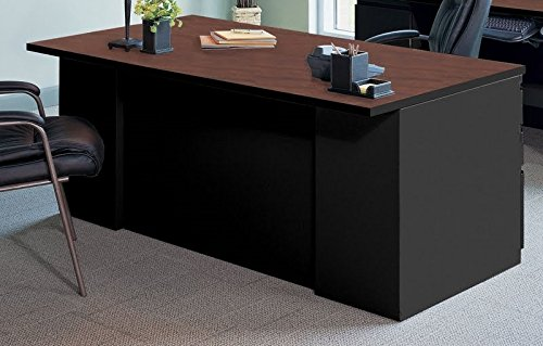 "Mayline Desk & Credenza Set Dimensions: Office Desk 72""W X 39""D X 29 1/8"" H, Credenza 72""W X 24""D X 29 1/8""H Includes Keyboard & Mouse Platforms 4 Banks Of Drawers - Crown Cherry/Black"
