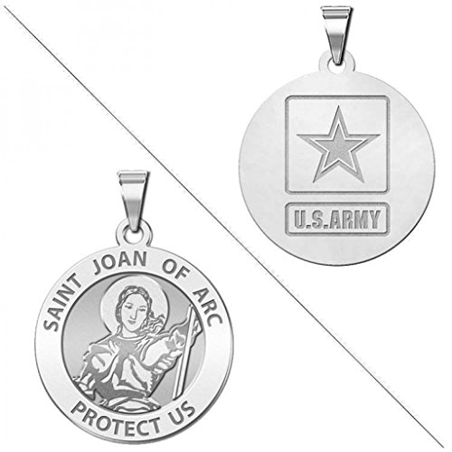 Saint Joan of Arc Doubledside ARMY Religious Medal - 1 Inch Size of a Quarter - Sterling Silver -