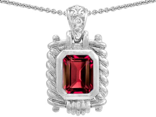 erald Cut 9x7mm Created Ruby Pendant Necklace Sterling Silver (Bali Style Star)