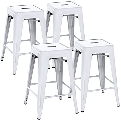 Best Choice Products Indoor Outdoor Stackable Backless Set Of 4 Metal 24' Counter Height Bar Stools- White