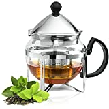 Chef's Star Glass Teapot With Infuser - Heat Resistant Tea Kettle Made From Stainless Steel & Borosilicate Glass - 20oz Tea Pot