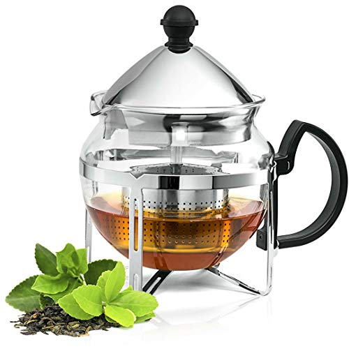 Chef's Star Functional Infuser Tea Maker - Premium Stainless Steel Tea Infuser - Heat Resistant Glass