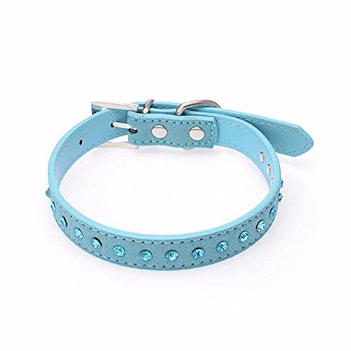 Pet collar,Pikolai Small Pet Dog PU Leather Collar Puppy Cat Blue Rhinestone Neck Strap (XS: 1.5cm30cm, Black)