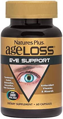 NaturesPlus AgeLoss Eye Support - 60 Vegetarian Capsules - Eye Vitamins & Minerals Supplement with Lutein, Astaxanthin & Zeaxanthin, Antioxidant - Gluten-Free - 30 Servings