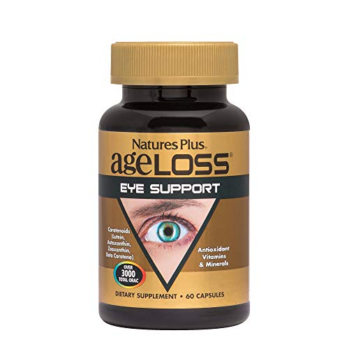 NaturesPlus AgeLoss Eye Support - 60 Vegetarian Capsules - Eye Vitamins & Minerals Supplement with Lutein, Astaxanthin & Zeaxanthin, Antioxidant - Gluten-Free - 30 Servings
