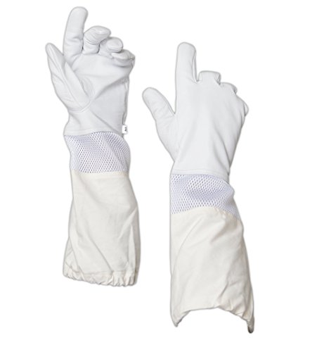 FOREST BEEKEEPING SUPPLY Forest Beekeeping Gloves, Premium Goatskin Leather Beekeeper's Glove with white vented space Between Long Canvas Sleeve and elastic cuff (S)
